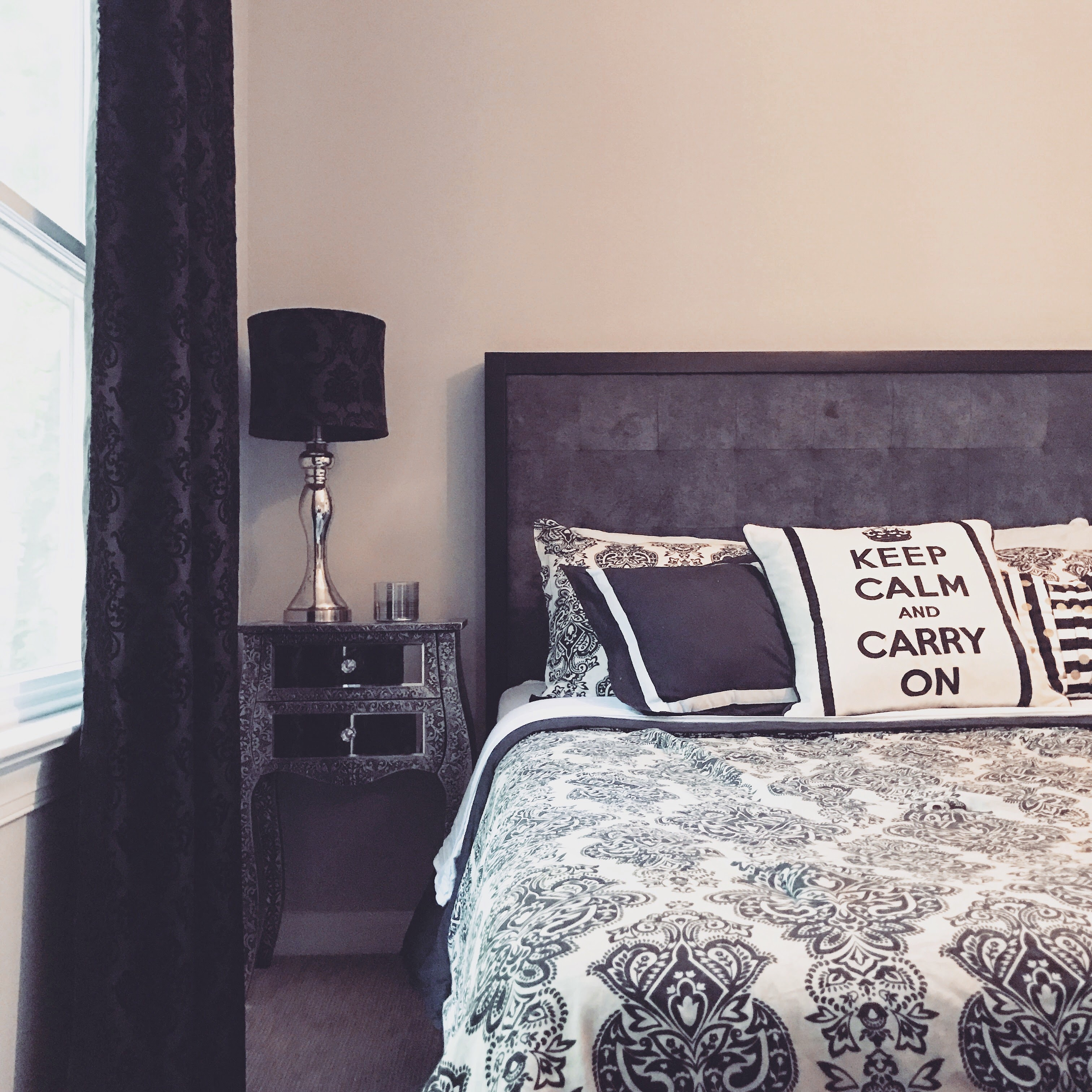 The Damask Bedding And Pillows Came From Belk Several Years Ago (hereu0027s A  Similar Set!) The Grey Tufted Velvet Headboard Was A Clearance Score From  Pier 1 ...