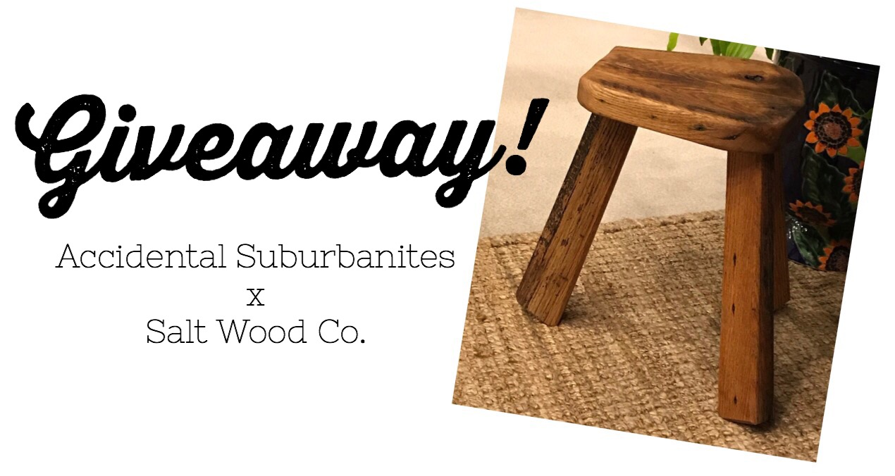 Salt Wood Co. Has Very Generously Offered To Give Away This Handmade Stool  From Their Collection To ONE Lucky Accidental Suburbanites Reader!